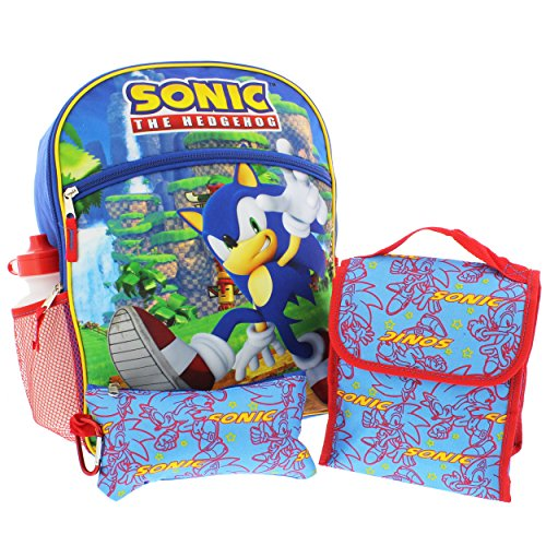 Sonic the Hedgehog 5 piece Backpack School Set (Sonic Blue/Red)