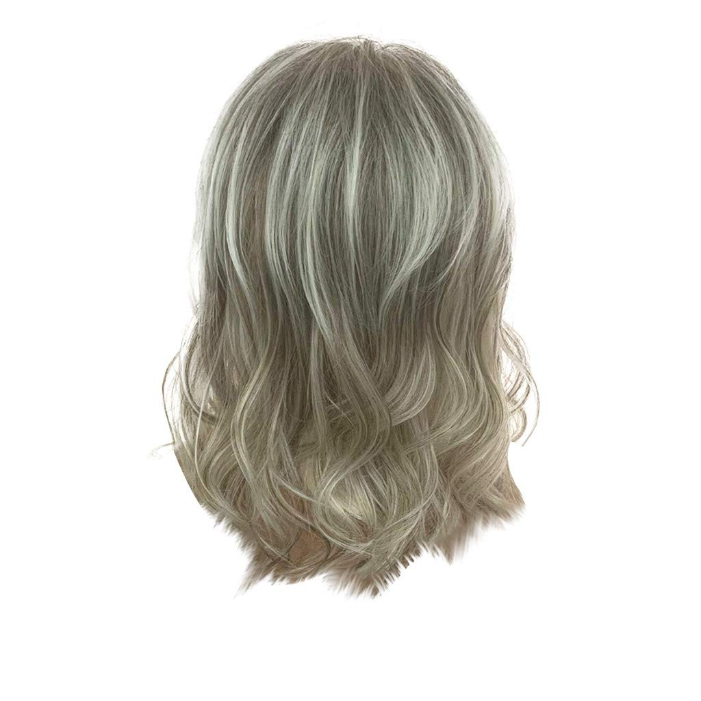 Wig,SUPPION Fashion Women Mix Colors Natural Short Wavy Wig Humen Hair Curly Synthetic Wigs - 14Inch - Cosplay/Party/Costume/Carnival/Masquerade (Multi-Colored)