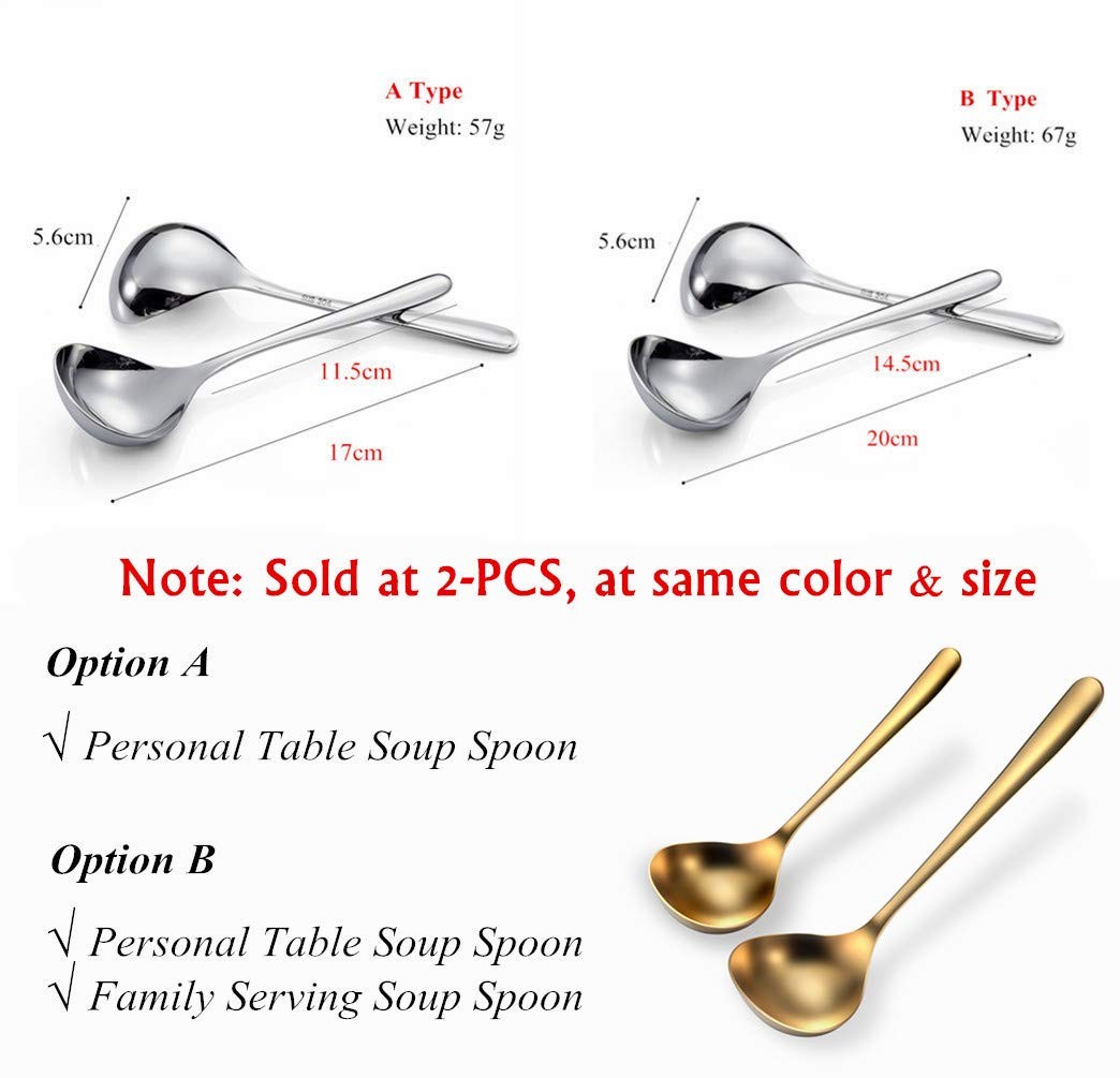 A Type 6.7inch Mini Ladle ,Deep Wide Enough for Personal Use Table Spoon 2-Piece Qualizon 18//8 Stainless Steel Heavy Duty Big Soup Spoon