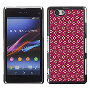 KOKO CASE / Sony Xperia Z1 Compact D5503 / Modelo del papel pintado al azar puntos rosados / Delgado Negro Plástico caso cubierta Shell Armor Funda Case Cover