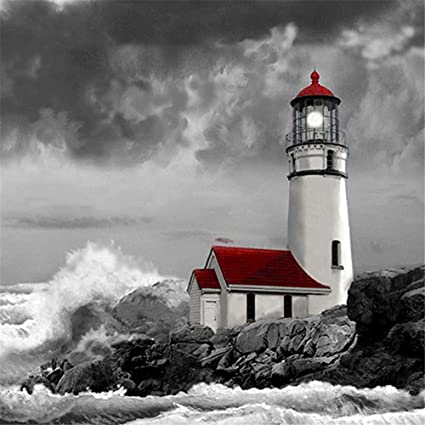 14X18inch//35X45CM Blxecky 5D DIY Diamond Painting by Number Kits,Lighthouse