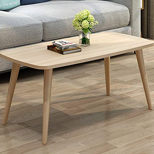 Allywit Tables Nordic Style Coffee Table Simple and Modern Small and Medium-Sized Fashion Coffee Table Rectangular Arc Table Solid Wood Tables 39.3719.68 Inch Yellow