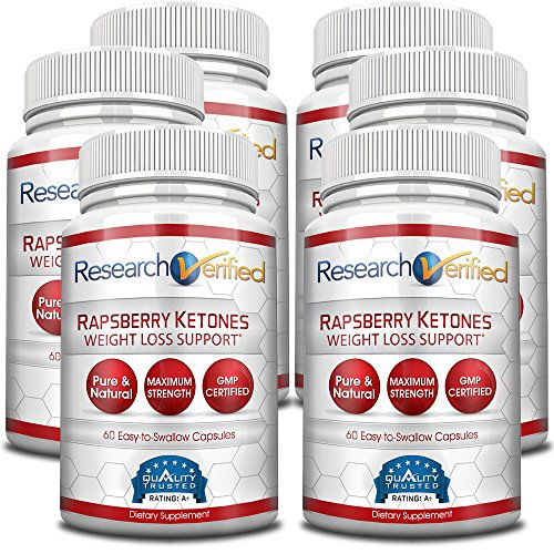 Research Verified Raspberry Ketones - 360 Capsules (Six Month Supply) - 100% Pure Natural Raspberry Ketones -1000mg/day- 365 Day 100% Money Back Guarantee-Try Risk Free for Fast and Easy Weight Loss by Research Verified