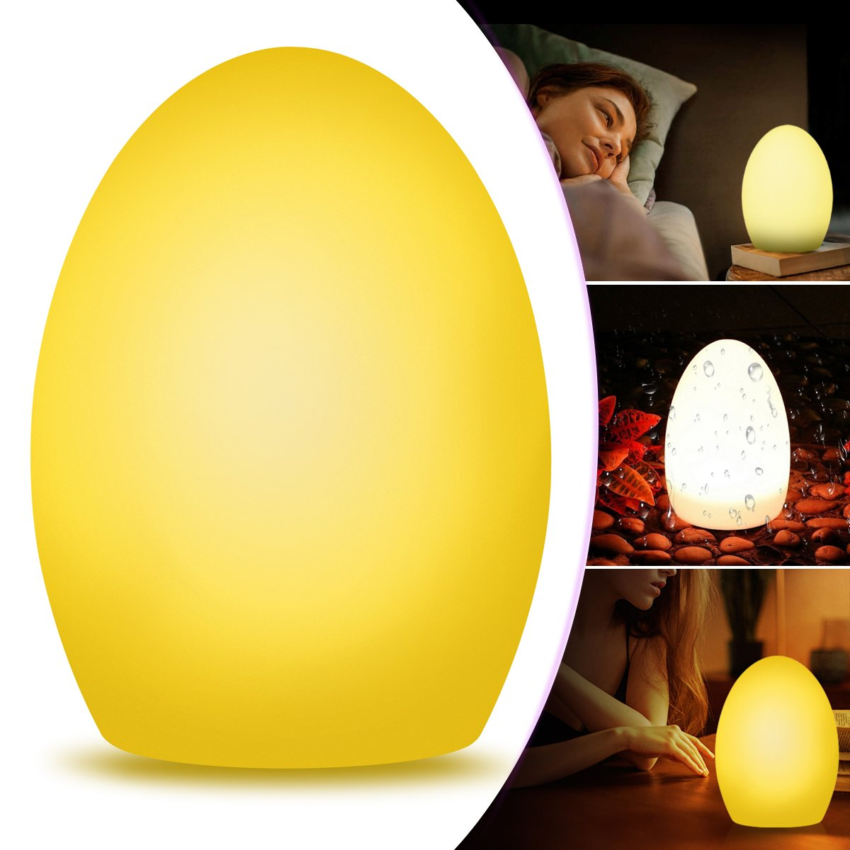 Smart Table Lamp WiFi Night Light Work with Amazon Alexa Echo/Google Home, Dimmable RBG LED Touch Ambient Bedside Lamp Light Color Changing Mood Lighting with Timer Voice Smartphone Remote Control