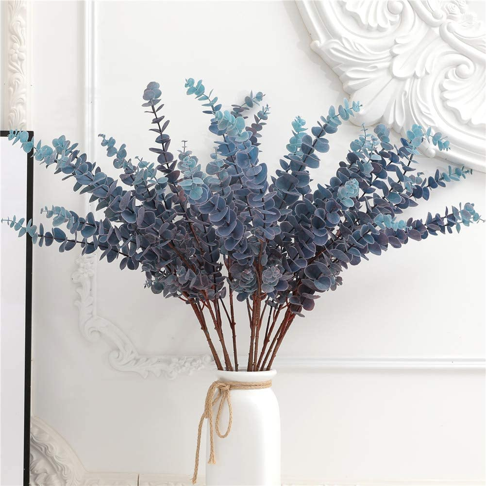 FuleHouzz 3 Pcs Soft Touch Artificial Eucalyptus Leaves Spray Fake Silver Dollar Greenery Stems for Home Wedding Floral Arrangement, Blue