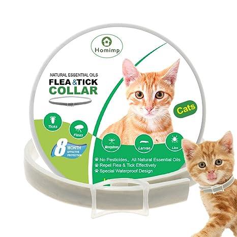 HOMIMP - Collar para Gatos con pulgas y garrapatas (Base de aceites Esenciales Naturales,