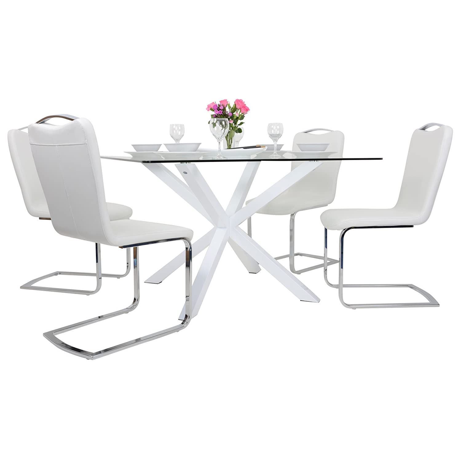 square glass dining table. Modern Square Clear Glass Top Dining Table Set With 4 White Faux Leather Chairs: Amazon.co.uk: Kitchen \u0026 Home