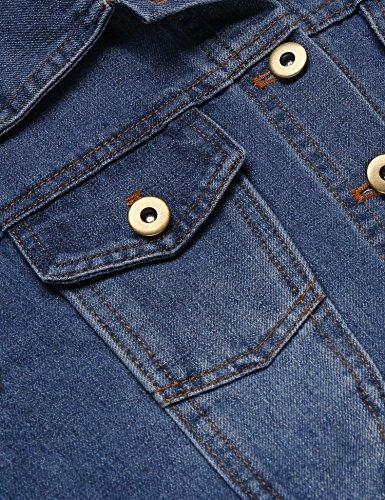 Grabsa Women's Button Down Long Sleeve Cropped Denim Jean Jacket with Pockets Clear Blue Medium