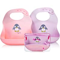 NatureBond Silicone Baby Bibs Easily Wipe Clean With Waterproof Pouch - Comfortable Soft Waterproof Bib Keeps Stains Off…