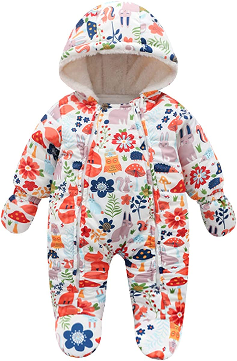 Famuka Baby Snowsuit Romper Fleece Lined Outwear Winter Warm Outfit with Gloves
