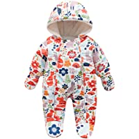 famuka Unisex Baby Winter Clothes Hooded Snowsuit Outerwear Onesie with Gloves
