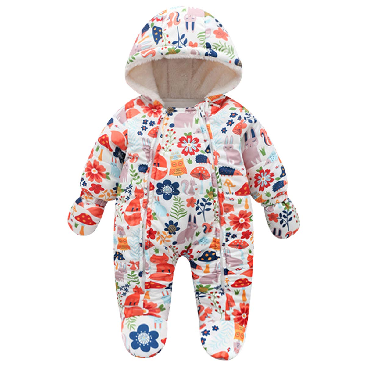 famuka Warm Baby Winter Clothes Hooded Snowsuit Outerwear Onesie with Gloves (Fox, 3-6 Months) by famuka