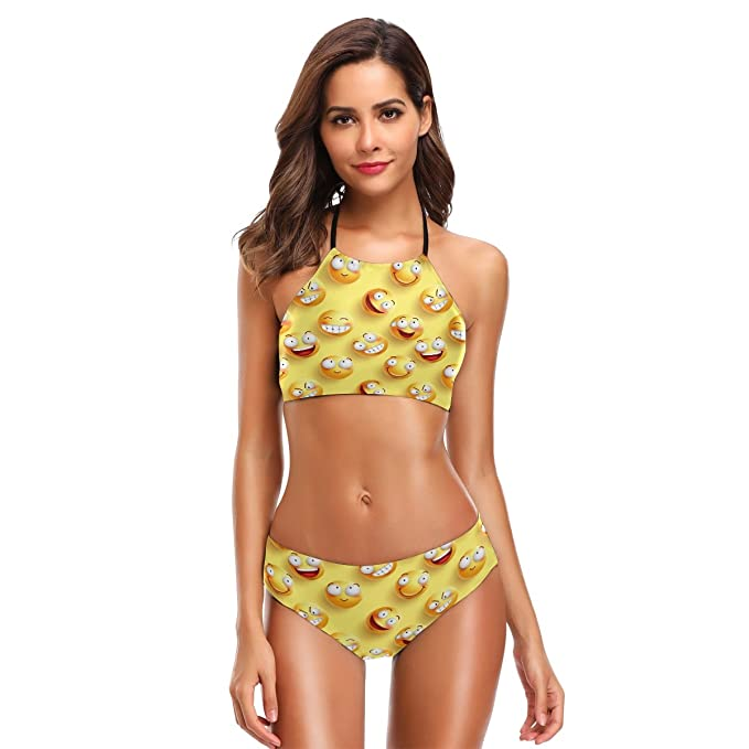 2ee0747eb0 Naanle Funny Smile Face Cute Emoji Bikini Swimwear Swimsuit Beach Suit  Bathing Suits for Teens Girls
