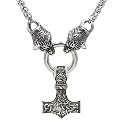 Guoshuang men viking stainless steel wolf head with thors hammer guoshuang men viking stainless steel wolf head with thors hammer mjolnir pendant necklace 50cm chain aloadofball Images