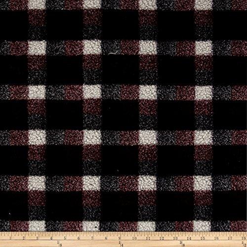 Shannon Fabrics Shannon Berber Check Fleece Burgundy Fabric by The Yard