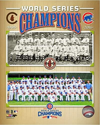 Framed Size: 12.5 x 15.5 Chicago Cubs 1908 /& 2016 World Series Champions Team Photo