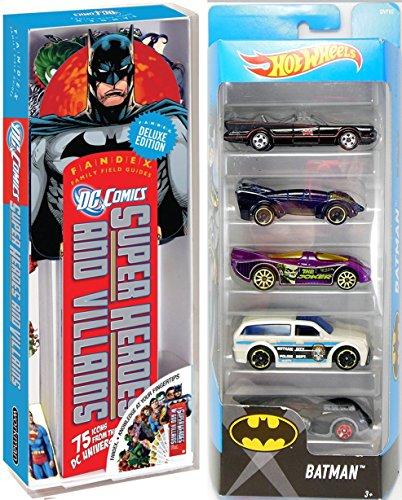 Hot Wheels 2017 Batman 5-Pack DC Comics Fandex Super Hero Cards Batmobile TV Series / Live / Gotham City Police / Joker / Arkham Asylum set