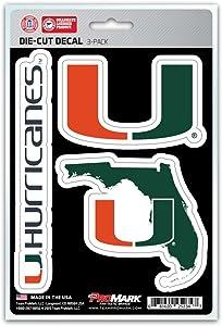 NCAA Miami Hurricanes Team Decal, 3-Pack
