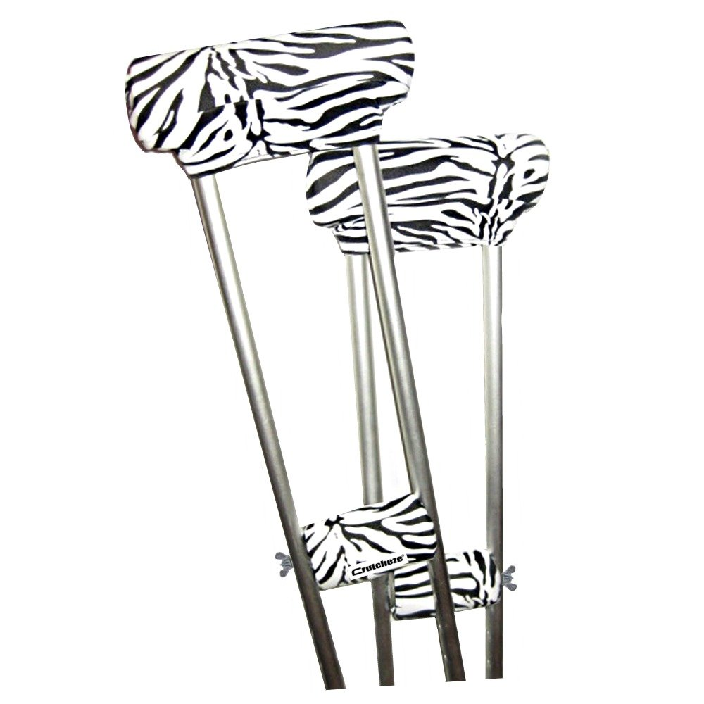 Crutcheze Zebra Underarm Crutch Pad and Hand Grip Covers with Comfortable Padding Washable Designer Fashion Orthopedic Products Accessories