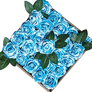 Jing-Rise Artificial Flowers Real Looking Fake Roses with Stem for DIY Wedding Bouquets Centerpieces Party Baby Shower Home Decorations 4
