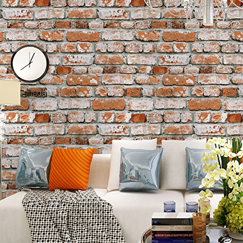 Red Faux Brick Wallpaper - HaokHome 22071 Realistic Faux Brick Wallpaper Orange Red/Grey/White for Home Kitchen Decor 20.8