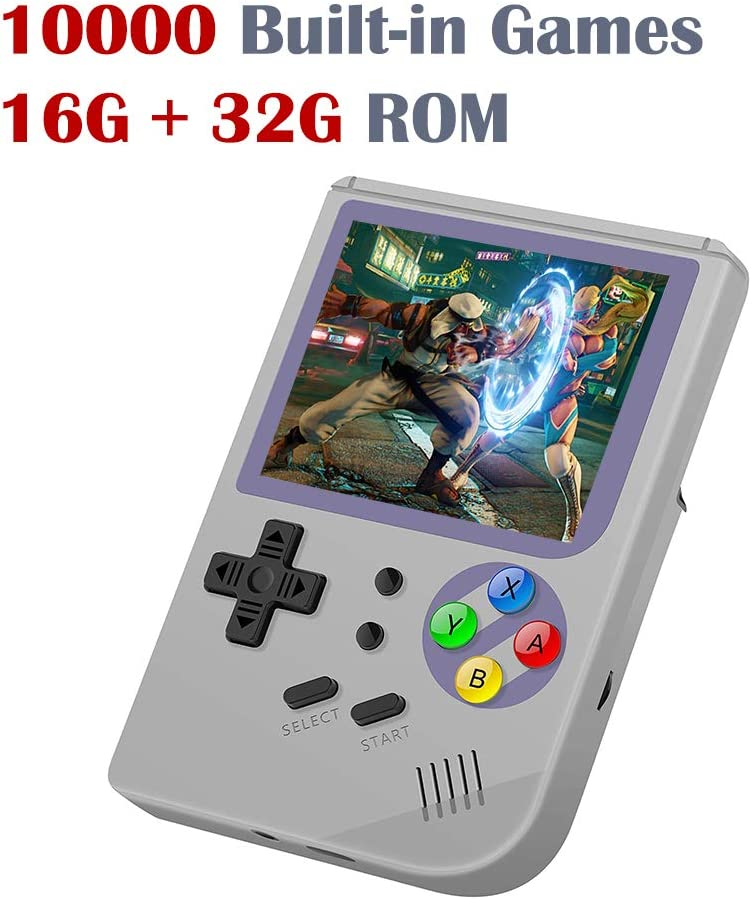 DREAMHAX RG300 Portable Game Console with Open Linux System Preload 10000 Games, Handheld Video Games with 16G + 32G TF Card 3 Inch IPS Screen, Arcade Retro Gameboy Gifts for Kids Adults (White)