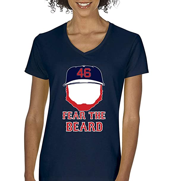 6aeaa8d5 PROSPECT SHIRTS Navy Boston Kimbrel Fear The Beard Ladies V-Neck T-Shirt  Adult