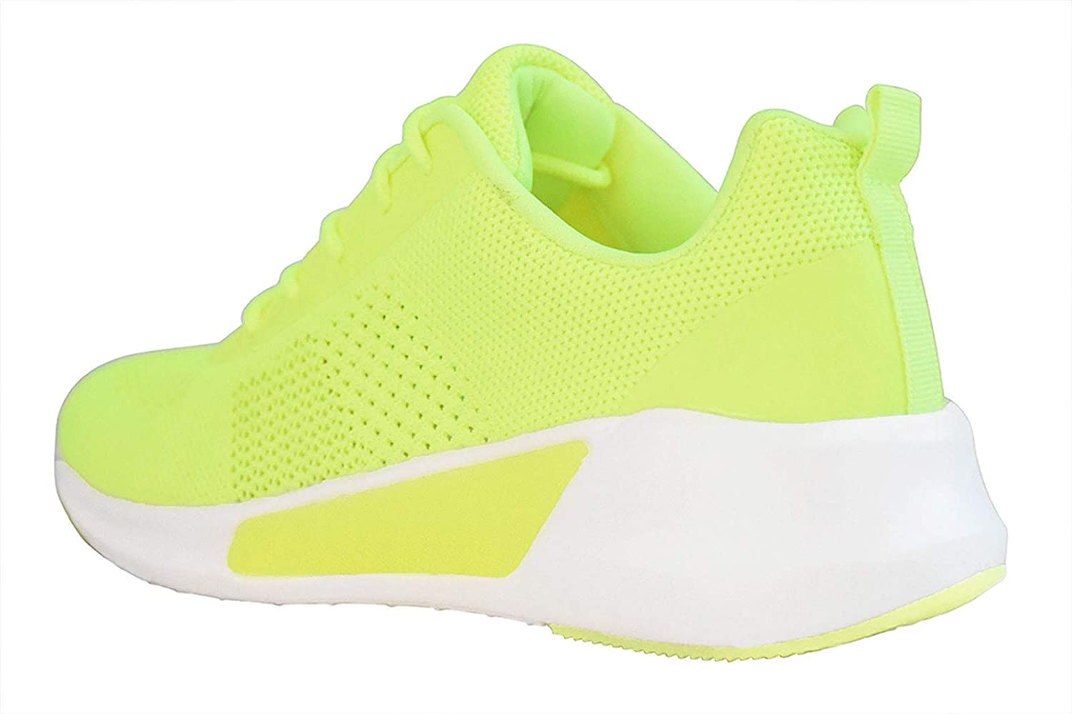 LUCKY-STEP Women Casual Lightweight Sneakers Mesh Breathable Athletic Running Shoes Non-Slip Fashion Shoes Lime