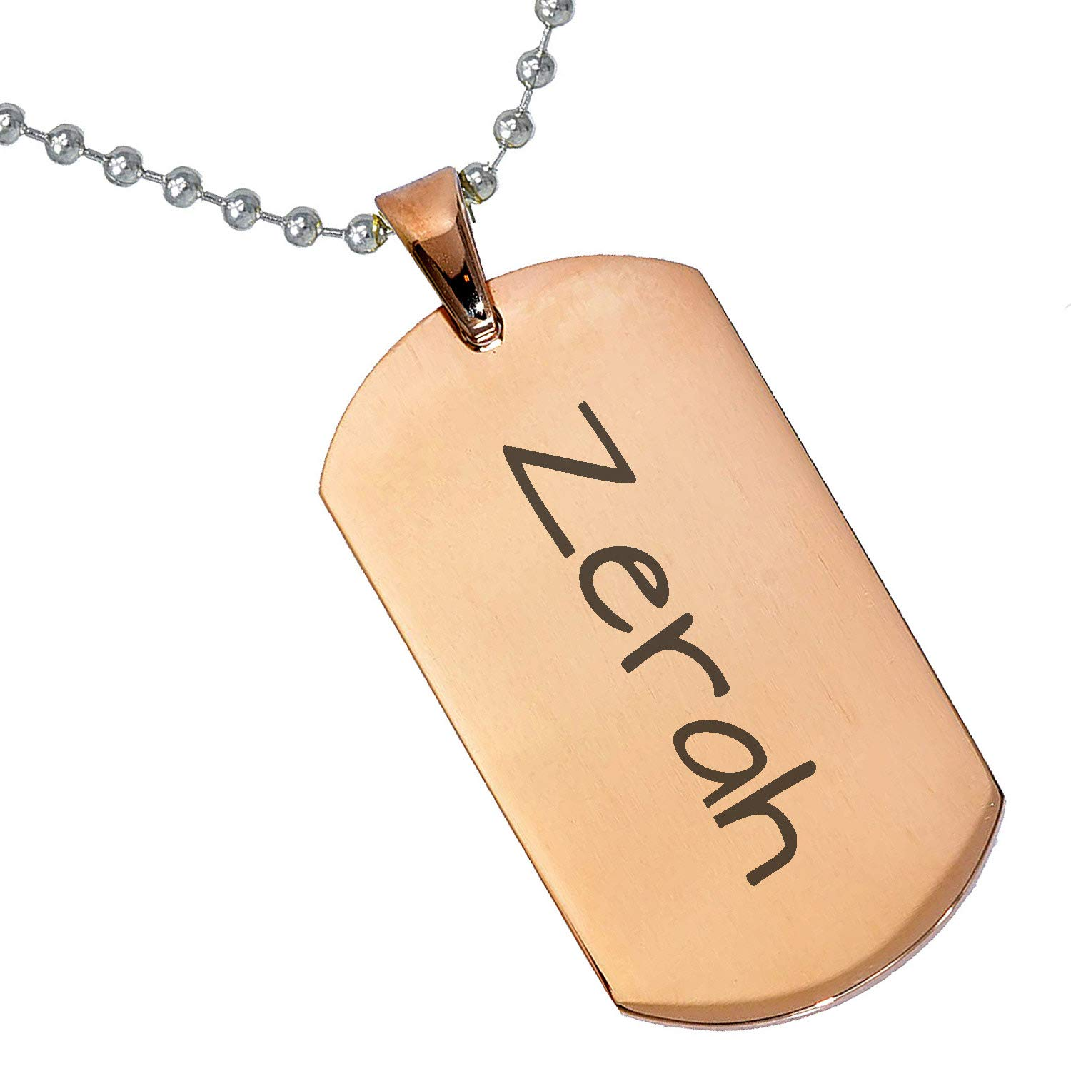 Stainless Steel Silver Gold Black Rose Gold Color Baby Name Zerah Engraved Personalized Gifts For Son Daughter Boyfriend Girlfriend Initial Customizable Pendant Necklace Dog Tags 24 Ball Chain