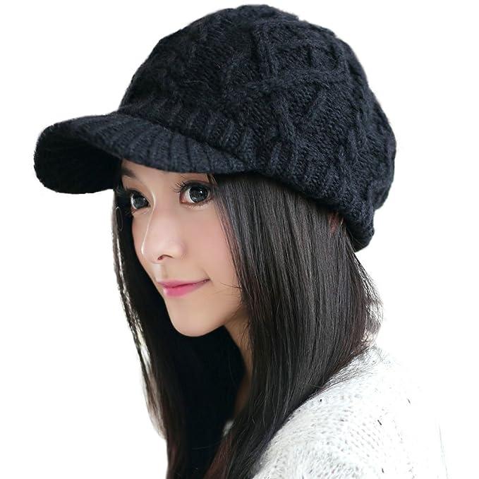 cf78e9db917 Siggi Wool Thick Knit Winter Hat for Women Newsboy Snow Cap Billed Beanie  with Brim Black