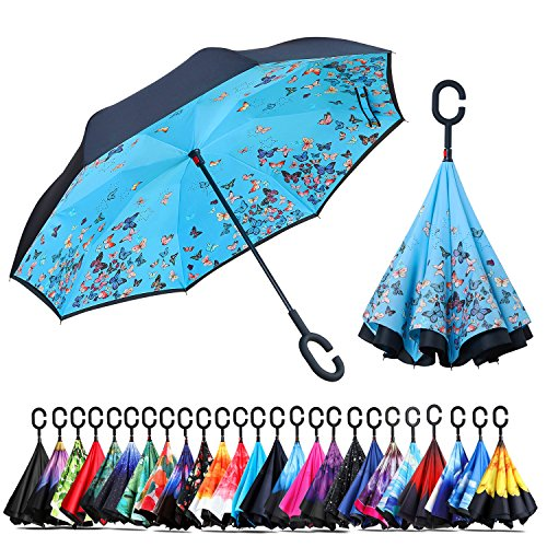 - Owen Kyne Windproof Double Layer Folding Inverted Umbrella, Self Stand Upside-down Rain Protection Car Reverse Umbrellas with C-shaped Handle (Blue Butterfly)