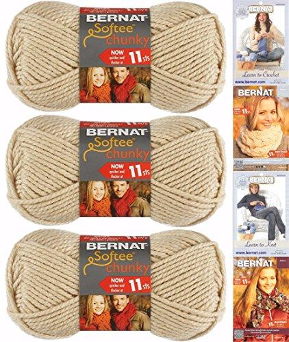 Bernat Chunky Yarn - Bernat Softee Chunky Yarn Bundle Super Bulky #6, 3 Skeins Linen 28021