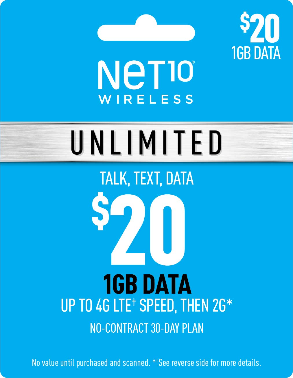Net10 Wireless $20 Unlimited 1GB Plan Refill Card (Mail Delivery)