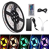 Waterproof LED Strip Lights Lamp Kit 300 lights 16.4ft SMD 5050RGB with 44Key IR Remote Controller and Power Adapter
