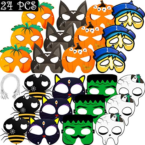 24 Pieces Halloween Paper Mask Craft Kits Masks for Halloween Party Decorations, Halloween Pumpkin Paper Mask Novelty Dress-up Party Accessory