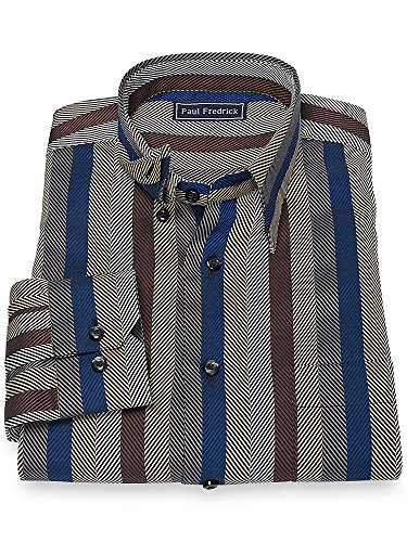 Herringbone Stripe Dress Shirt (Paul Fredrick Men's 100% Cotton Herringbone Stripe Sport Shirt Multi)