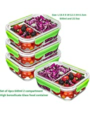 PREMIUM QUALITY(4 PACK SET)Tritan 640 ML 2 Compartment Glass Lunch box/Food Storage Containers - Meal Prep Glass Containers Set - Reusable Microwave ,Oven, Freezer & Dishwasher Safe BPA Free Lunch Containers with Smart For Snap Locking Tritan Lid Guarantee 100% Airtight Leakproof