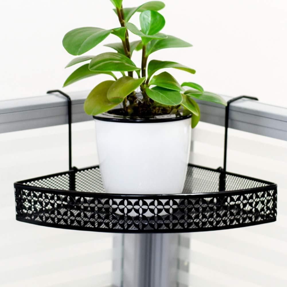 D&LE Metal Corner Flower Pot Stand Rack Hanging Office Desktop Plant Stand Rack Hanging Balcony Railing Shelf Flower Pot Holder-Black 7.8x5(20x13cm) by D&LE