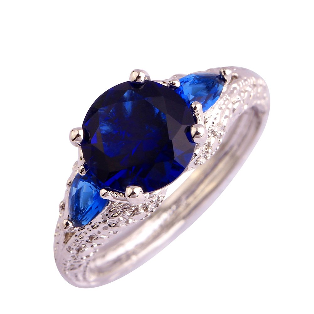 Psiroy Women's 925 Sterling Silver Created Blue Sapphire Filled Soliatire Anniversary Ring Size 7