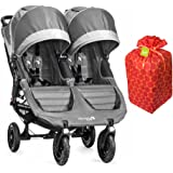 Baby Jogger 2016 City Mini GT Double Stroller With Gift Wrap Bag, Card & Bow (Steel Grey)