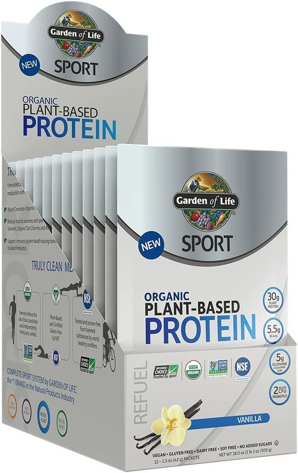 Garden Of Life Sport Organic Plant-Based Protein - BCAA Amino Acid Protein Powder, Vanilla, 12 Count