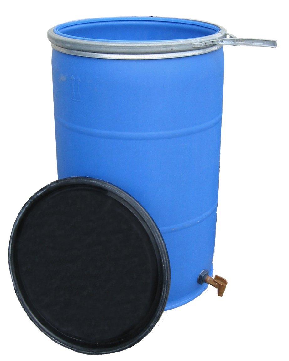 55 Gallon Open Top Barrel w/Bulkhead Fitting and Faucet