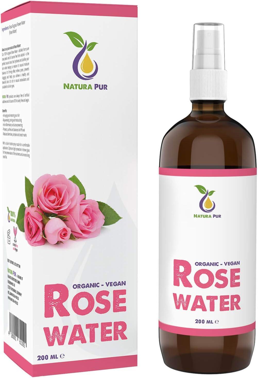 NATURA PUR Agua de Rosas Natural en Spray 200 ml - Hidrolato de Rosas Bío 100% Puro, Orgánico y Vegano - desmaquillante y tónico para piel y cara con imperfecciones, granos y acné
