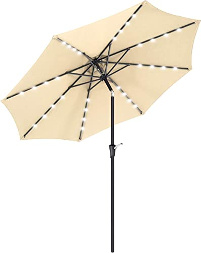 SONGMICS 9 ft Solar Patio Umbrella, Lighted Outdoor Umbrella, 32 LED Lights, with Tilt and Crank Mechanism, for Outdoor Garden Balcony Patio Backyard Market, Without Base, Beige UGPU11BE