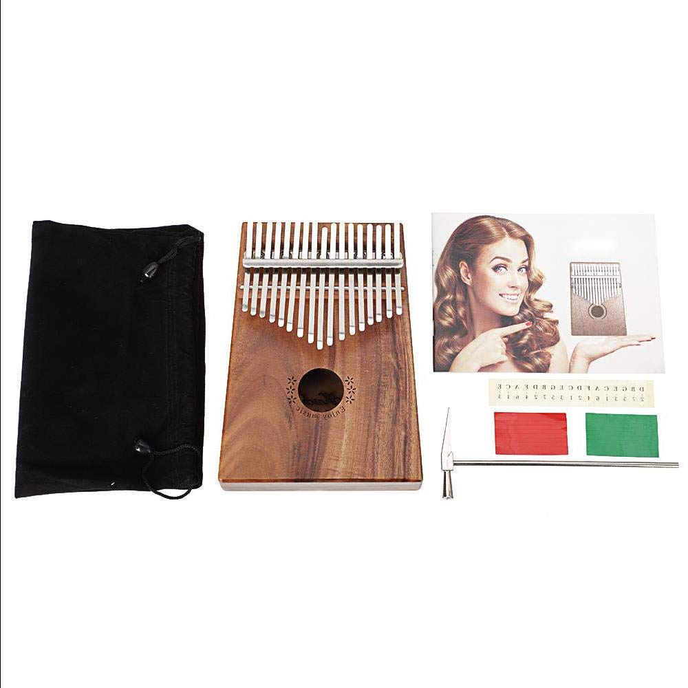 17 Key Kalimba Finger Piano Koa Body with Tuning Hammer And More - Natural Color