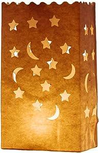 AIBER 30 X Paper Tea Light Candle Lantern Bags Wedding Party Garden BBQ Xmas Decor(Moon-Star)