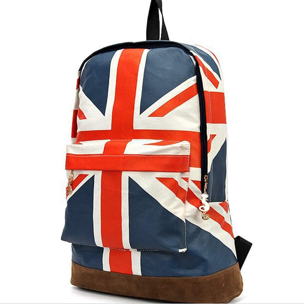 Celendi for Independence Day Gift Womens High-Capacity Canvas National Flag Independence Day Shoulders Backpacks