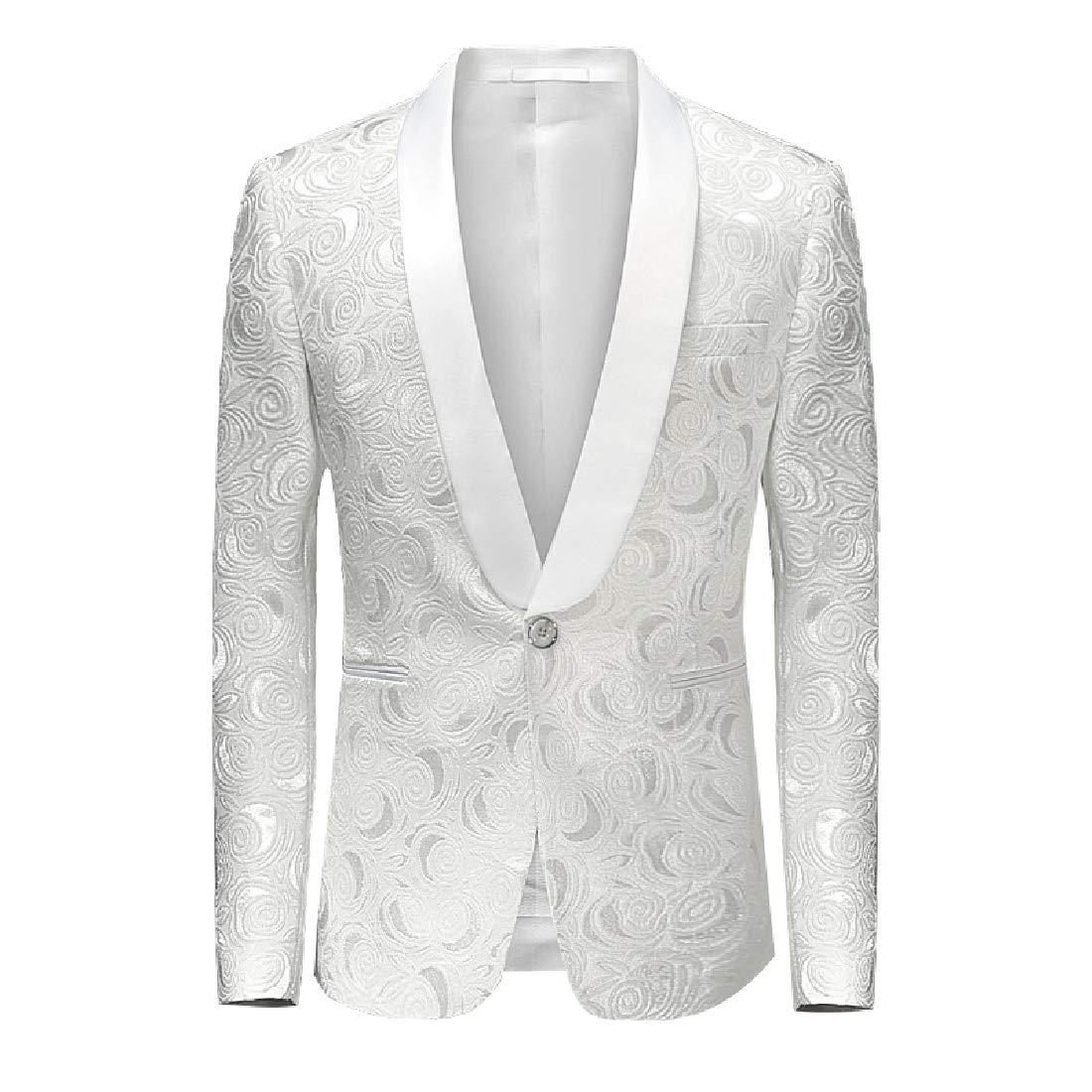 Abetteric Men Premium Casual Jacquard Prom Tuxedo Blazer Dress Suit