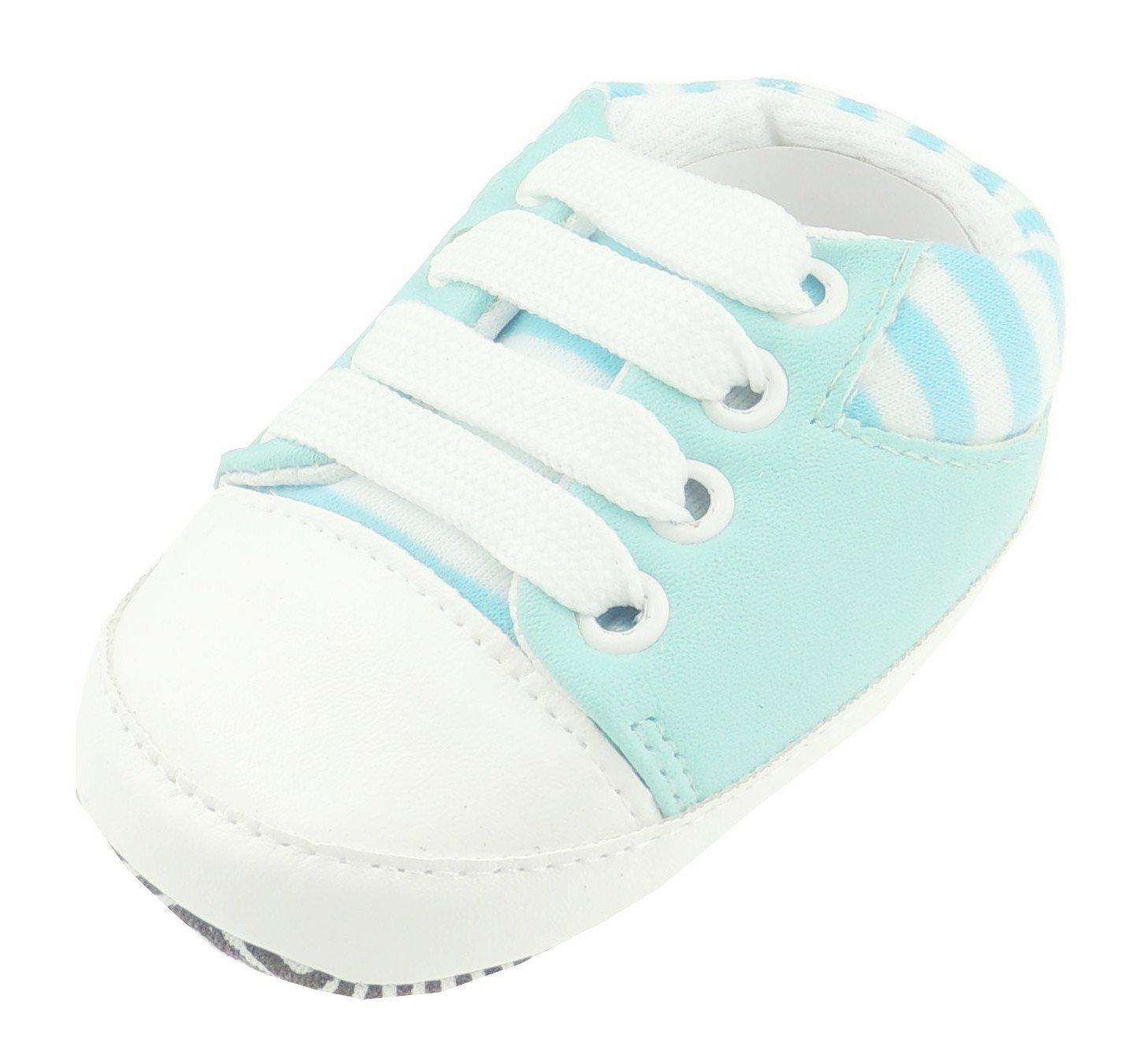 Adorable beb/é ni/ños ni/ñas botines cochecito zapatos blanco rayas zapatillas beb/é azul Talla:0-3 Meses