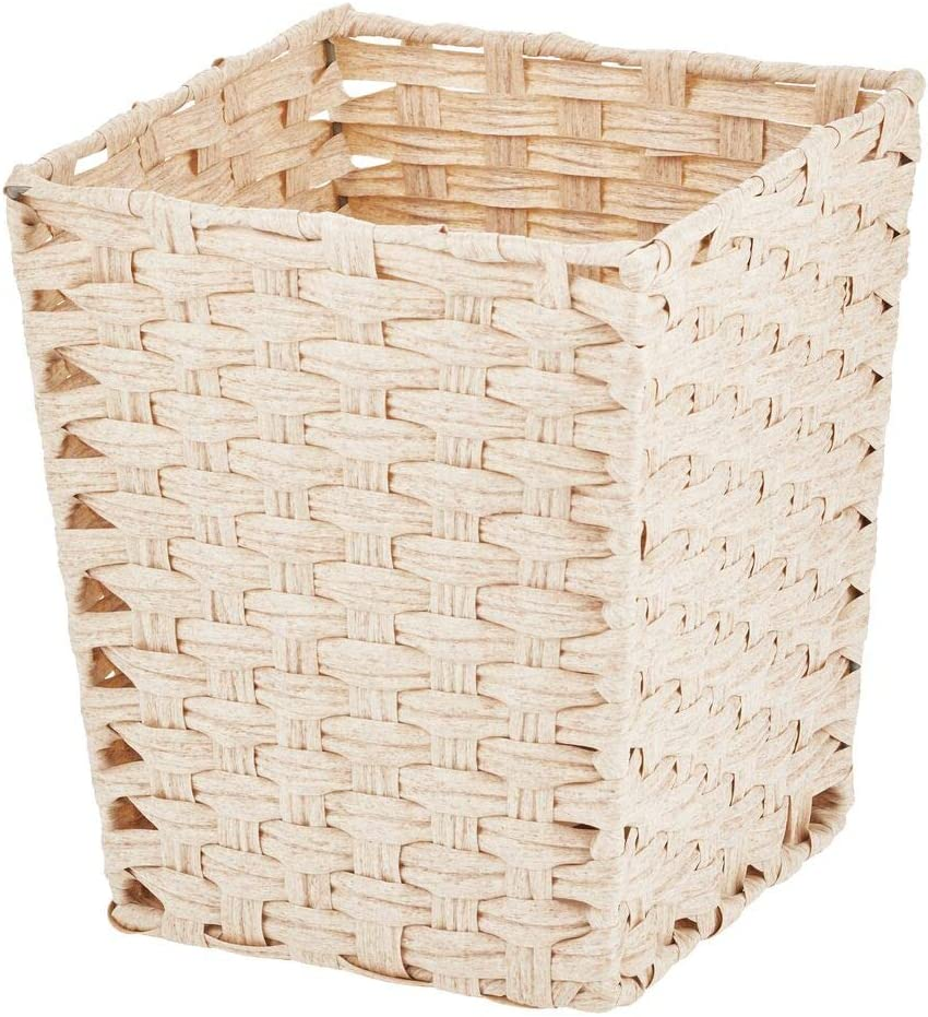 mDesign Small Woven Basket Trash Can Wastebasket - Square Garbage Container Bin for Bathrooms, Kitchens, Home Offices, Craft, Laundry, Utility Rooms, Garages - Cream/Beige